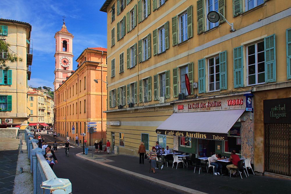 """Street scene in the """"Vielle Ville"""" (old town) part of Nice on the French riviera"""