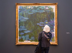 Visitor looking at painting, The Water Lily Pond by Claude Monet,  at new Museum Barberini in Potsdam Germany