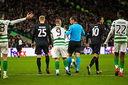 Leigh Griffiths of Celtic FC pleeds with the referee to review his decision during the Europa League match between Celtic and FC Copenhagen at Celtic Park, Glasgow, Scotland on 27 February 2020.