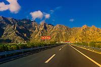 Highway, near Lhasa, Tibet (Xizang), China.