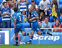 Photo: Daniel Hambury.<br /> Reading v Millwall. Coca Cola Championship.<br /> 20/08/2005.<br /> Reading's Steve Sidwell celebrates scoreing the fifth goal.