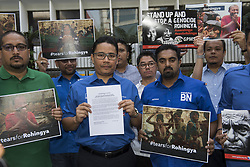 September 8, 2017 - Kuala Lumpur, Malaysia - Khairul Azwan Harun (Center, 41, politician) who Deputy Leader of UMNO(United Malays National Organisation) Youth and UMNO members picket outside UN HQ in Kuala Lumpur, Malaysia. They urges UN to act immediately about Rohingya crisis in Myanmar. (Credit Image: © Chris Jung via ZUMA Wire)