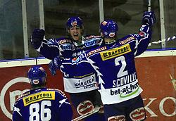 Team of Villach celebrating goal at ice hockey match Acroni Jesencie vs EC Pasut VSV in EBEL League,  on November 23, 2008 in Arena Podmezaklja, Jesenice, Slovenia. (Photo by Vid Ponikvar / Sportida)