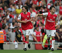 Photo: Lee Earle.<br /> Arsenal v Portsmouth. The FA Barclays Premiership. 02/09/2007.Arsenal's Tomas Rosicky (L) is congratulated by Cesc Fabregas after he scored their third.