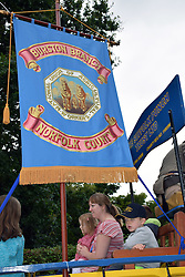 National Union of Agricultural Workers Suffolk Punch horses lead the Burston School Strike rally, Burston, Norfolk 4 September 2016. Burston Strike School was at the centre of the longest running strike in British history from 1914-1939