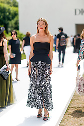 Street style, Camille Rowe arriving at Dior Fall-Winter 2018-2019 Haute Couture show held at Musee Rodin, in Paris, France, on July 2nd, 2018. Photo by Marie-Paola Bertrand-Hillion/ABACAPRESS.COM