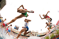 Pieter Desmet of Belgium (R)  competes in the Mens 3000m Steeplechase Heat during day four of the 20th European Athletics Championships at the Olympic Stadium on July 30, 2010 in Barcelona, Spain.  (Photo by Vid Ponikvar / Sportida)