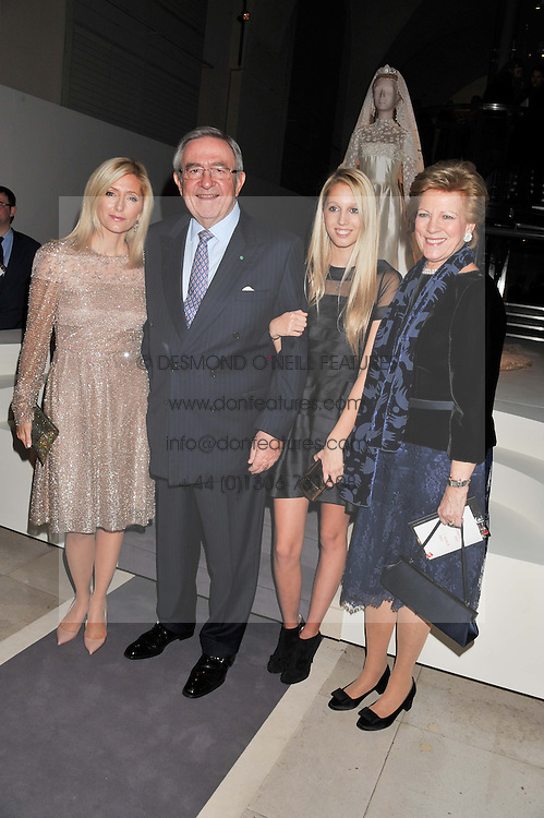 Left to right, CROWN PRINCESS MARIE-CHANTAL OF GREECE, KING CONSTANTINE OF GREECE, PRINCESS MARIA-OLYMPIA OF GREECE and QUEEN ANNE-MARIE OF GREECE at a private view of 'Valentino: Master Of Couture' at Somerset House, London on 28th November 2012.