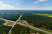 Nederland, Gelderland, Wolfheze, 29-05-2019; Veluwe, Het Hazeleger, A12 met Afslag Oosterbeek (N224)<br /> Motorway A12, exit Oosterbeek.<br /> luchtfoto (toeslag op standard tarieven);<br /> aerial photo (additional fee required);<br /> copyright foto/photo Siebe Swart