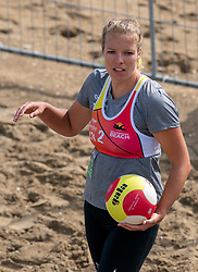 Lotte Smeets in action. The DELA NK Beach volleyball for men and women will be played in The Hague Beach Stadium on the beach of Scheveningen on 22 July 2020 in Zaandam.
