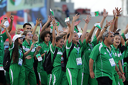 ALGIERS, July 19, 2018  Algeria's delegation parade during the opening ceremony of the 3rd African Youth Games in Algiers, Algeria, July 18, 2018. Some 3,300 athletes from 54 African countries and regions will compete in 30 sports until July 28. (Credit Image: © Xinhua via ZUMA Wire)
