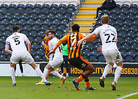 Hull City's Keane Lewis-Potter scores his side's first goal in the 22nd minute<br /> <br /> Photographer Lee Parker/CameraSport<br /> <br /> The EFL Sky Bet League One - Hull City v Oxford United - Saturday 13th March 2021 - KCOM Stadium - Kingston upon Hull<br /> <br /> World Copyright © 2021 CameraSport. All rights reserved. 43 Linden Ave. Countesthorpe. Leicester. England. LE8 5PG - Tel: +44 (0) 116 277 4147 - admin@camerasport.com - www.camerasport.com