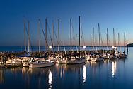 Sail boats at the White Rock Pier Marina in White Rock, British Columbia, Canada