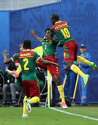 2017?6?23?.   ????????——?????????????????.    6?22??????????????????????????????????.    ??????????????2017????????B???????????1?1?????????.    ?????????..(SP)RUSSIA-ST. PETERSBURG-2017 FIFA CONFEDERATIONS CUP-CMR VS AUS..(170623) -- ST. PETERSBURG, June 23, 2017  Andre Zambo (C) of Cameroon celebrates scoring with teammate Ernest Mabouka (L) and  Vincent Aboubakar during the group B match between Cameroon and Australia of the 2017 FIFA Confederations Cup in St. Petersburg, Russia, on June 22, 2017. The match ended with a 1-1 tie.  7 9854294892 (Credit Image: © Xu Zijian/Xinhua via ZUMA Wire)
