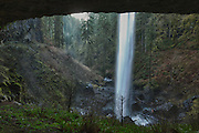 USA, Oregon, Silver Falls State Park, North Falls from behind the falls, Digital Composite, HDR