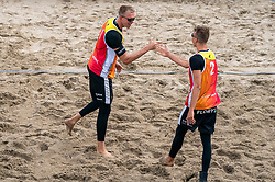 Stefan Bormans, Yorick de Groot in action. The Final Day of the DELA NK Beach volleyball for men and women will be played in The Hague Beach Stadium on the beach of Scheveningen on 23 July 2020 in Zaandam.