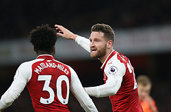 22 December 2017 London : Premier League Football : Arsenal v Liverpool : Shkodran Mustafi of Arsenal organises the defence.<br /> (photo by Mark Leech)