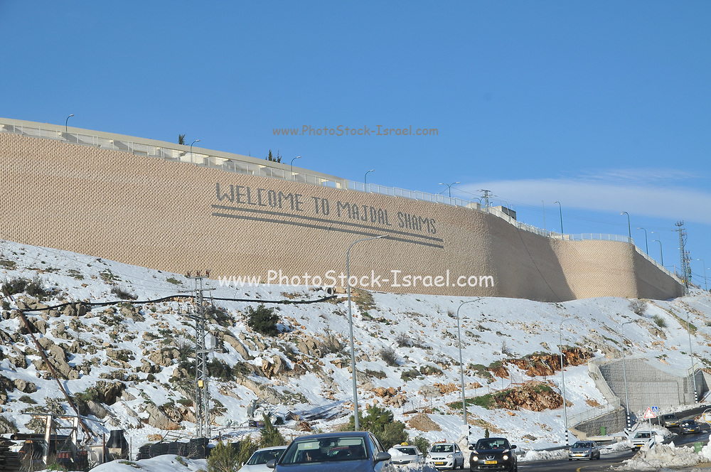 Israel, Golan Heights, The Druse village of Majdal Shams covered in snow
