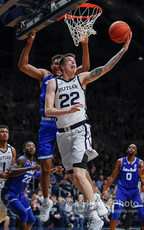 INDIANAPOLIS, IN - JANUARY 15: Sean McDermott #22 of the Butler Bulldogs shoots the ball during the game against the Seton Hall Pirates at Hinkle Fieldhouse on January 15, 2020 in Indianapolis, Indiana. (Photo by Michael Hickey/Getty Images) *** Local Caption *** Sean McDermott