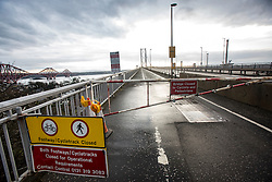 Pics of the closed Forth Road Bridge from the north, Fife side at North Queensferry. Pic of the closed south bound road side.