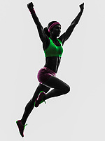 one  woman runner running jumping in silhouette on white background