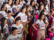 25 MARCH 2015 - BANGKOK, THAILAND:  Contestants on stage during the first round of the Miss Tiffany's contest at CentralWorld, a large shopping mall in Bangkok. Miss Tiffany's Universe is a beauty contest for transgender contestants; all of the contestants were born biologically male. The final round will be held on May 8 in the beach resort of Pattaya. The final round is televised of the  Miss Tiffany's Universe contest is broadcast live on Thai television with an average of 15 million viewers.     PHOTO BY JACK KURTZ