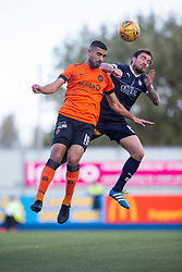 Dundee United's Rachid Bouhenna and Falkirk's Paul Paton. half time : Falkirk 0 v o Dundee United, Scottish Championship game played 22/9/2018 at The Falkirk Stadium.