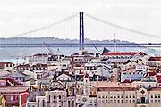 Lisbon, November 2012. April 25 bridge and downtown buildings.