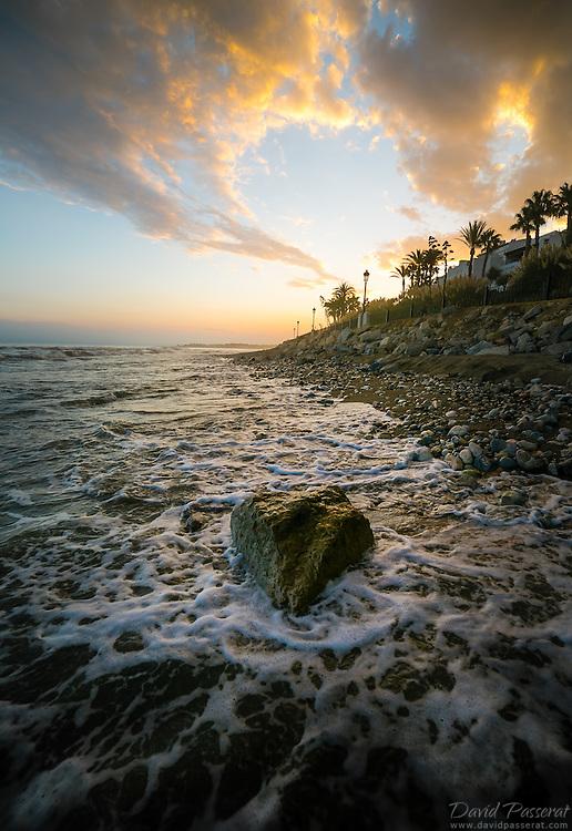 Rock and seashore in Marbella beach