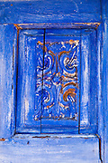 Blue wooden door panel, Harmony, California