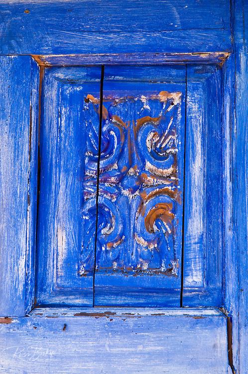 Blue wooden door panel, Harmony, California