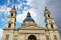View of Saint Stephens Basilica, and cloudy skies, Budapest, Germany.