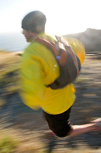 Jason Reale running near the California Coastal Trail; Golden Gate National Recreation Area. San Francisco,  CA
