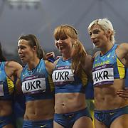 The Ukraine women's 4 x 100m relay team of  Olesya Povh, . Hrystyna Stuy,  Mariya Ryeman, and Elyzaveta Brygina,  celebrate their Bronze Medal at the Olympic Stadium, Olympic Park, during the London 2012 Olympic games. London, UK. 4th August 2012. Photo Tim Clayton