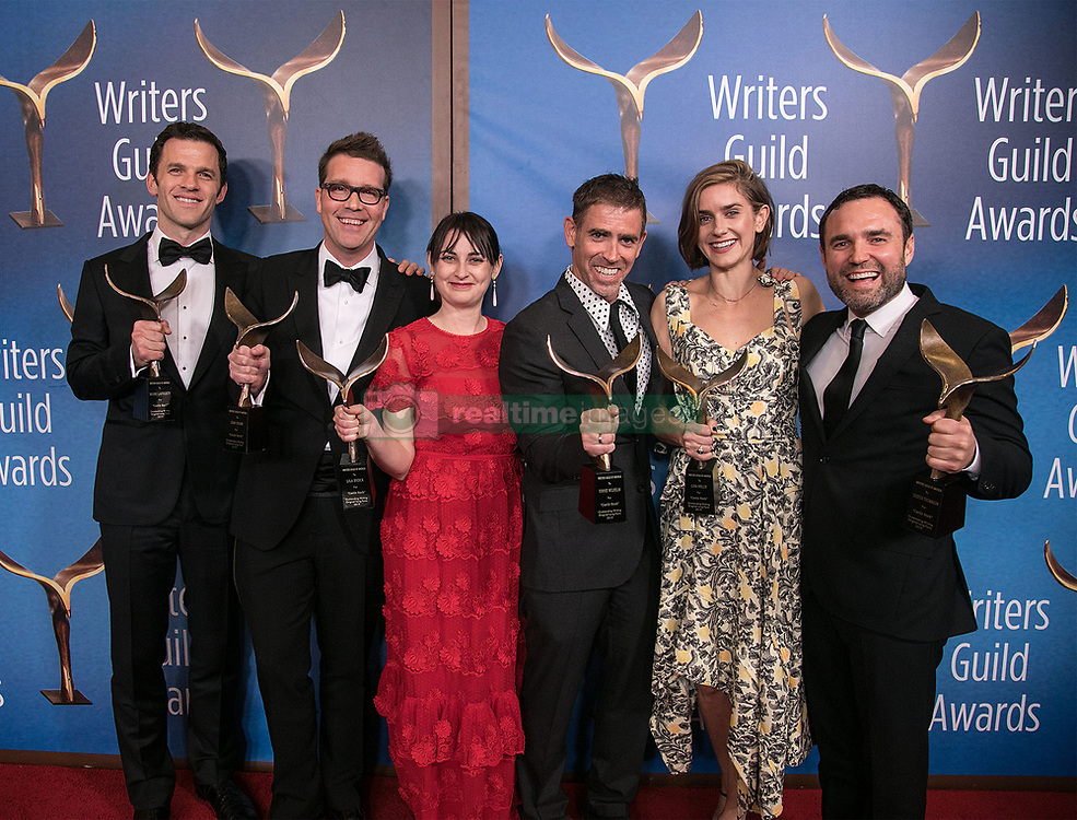 February 17, 2019 - Los Angeles, California, United States of America - (L-R) Mark Lafferty, Sam Shaw, Lila Byock, Vinnie Wilhelm, Gina Welch, and Dustin Thomason, winners of Original Long Form, pose in the press room of the 2019 Writers Guild Awards at the Beverly Hilton Hotel on Sunday February 17, 2019 in Beverly Hills, California. JAVIER ROJAS/PI (Credit Image: © Prensa Internacional via ZUMA Wire)