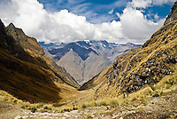 The view from Dead Woman's Pass on the Inca Trail, Peruvian Andes