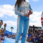 Race car driver Danica Patrick is seen during driver introductions prior to the 58th Annual NASCAR Daytona 500 auto race at Daytona International Speedway on Sunday, February 21, 2016 in Daytona Beach, Florida.  (Alex Menendez via AP)