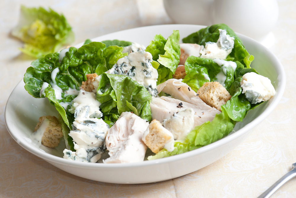 Chicken and blue cheese salad with lettuce and croutons