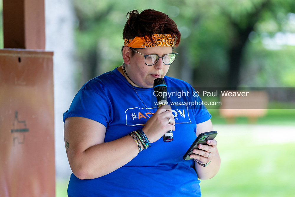 Marielle Miller of Sunrise Lewisburg speaks at a rally against a proposed natural gas power plant in Renovo, Pennsylvania on July 17, 2021. The Pennsylvania Department of Environmental Protection granted a permit in April 2021 for Renovo Energy Center LLC to construct and operate a gas-fired power plant in Renovo Borough. (Photo by Paul Weaver)