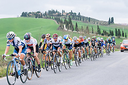 Carmen Small and Lizzie Williams have Anna van der Breggen on their wheel - 2016 Strade Bianche - Elite Women, a 121km road race from Siena to Piazza del Campo on March 5, 2016 in Tuscany, Italy.