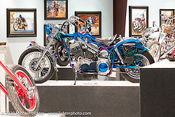 Ron Finch's famed Loophole, originally built as a Shovelhead 1987, in the Heavy Mettle - Motorcycles and Art with Moxie exhibition at the Sturgis Buffalo Chip. This is the 2020 iteration of the annual Motorcycles as Art series curated and produced by Michael Lichter. Sturgis, SD, USA. Friday, August 7, 2020. Photography ©2020 Michael Lichter.