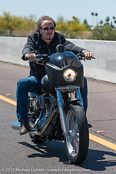"""Kim Coates of Sons of Anarchy leading the 3rd Annual Crusaders for the Children """"Child Empowerment Ride"""" with Sons of Anarchy during Arizona Bike Week 2014. USA. April 6, 2014.  Photography ©2014 Michael Lichter."""