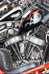 Noah O'Geen's custom Panhead chopper in Mondo's Denvers Choppers vintage bike show at the Iron Horse Saloon during the annual Sturgis Black Hills Motorcycle Rally. Sturgis, SD. USA. Saturday August 5, 2017. Photography ©2017 Michael Lichter.