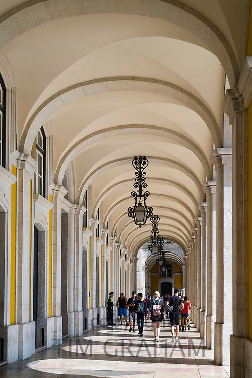 Arcades of Pombal's reconstruction in Praca do Comercio -Terreiro do Paço, in the City of Lisbon, Portugal