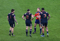 04 February 2017 Twickenham : Six Nations Rugby England v France :<br /> the French front row are spoken to by referee Angus Gardner.<br /> Photo: Mark Leech
