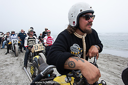 Love Cycles' Jeremiah Armenta of Phoenix, AZ with his Harley-Davidson Knucklehead racer at TROG (The Race Of Gentlemen). Wildwood, NJ. USA. Saturday June 9, 2018. Photography ©2018 Michael Lichter.