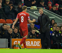 05.01.2014, Anfield, Liverpool, ENG, FA Cup, FC Liverpool vs FC Oldham Athletic, 3. Runde, im Bild Liverpool's captain Steven Gerrard is substituted by manager Brendan Rodgers against Oldham Athletic // during the English FA Cup 3rd round match between Liverpool FC and Oldham Athletic FC at the Anfield in Liverpool, Great Britain on 2014/01/05. EXPA Pictures © 2014, PhotoCredit: EXPA/ Propagandaphoto/ David Rawcliffe<br /> <br /> *****ATTENTION - OUT of ENG, GBR*****