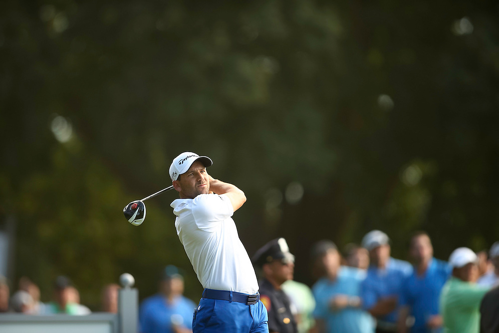 FARMINGDALE, NY - AUGUST 26:  Sergio Garcia of Spain plays a tee shot during the final round of the 2012 Barclays at the Black Course at Bethpage State Park in Farmingale, New York on August 26, 2012. (Photograph ©2012 Darren Carroll) *** Local Caption *** Sergio Garcia