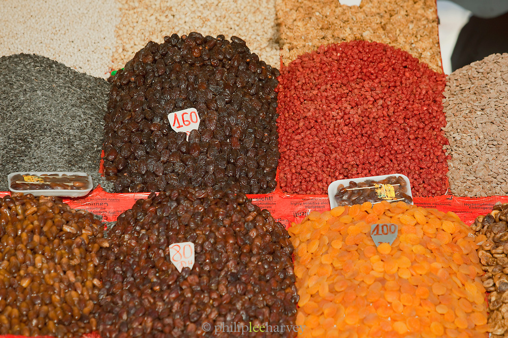 Dried fruit for sale at a stall at the Djemaa el Fna in the medina of Marrakech, Morocco
