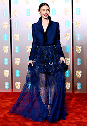 Lily Collins attending the 72nd British Academy Film Awards held at the Royal Albert Hall, Kensington Gore, Kensington, London.
